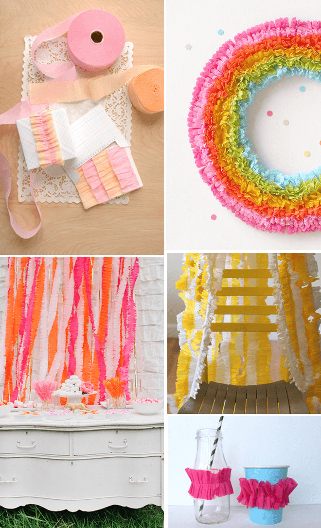 Diy tutorial how to make ruffled crepe paper streamers - Birthday decorations with crepe paper ...