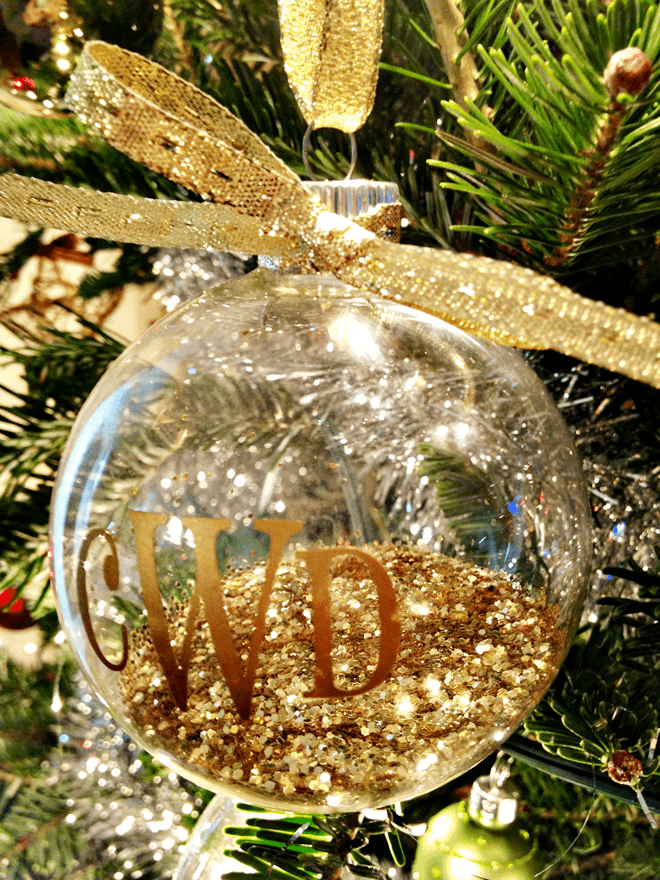 glittered monogrammed christmas ornament