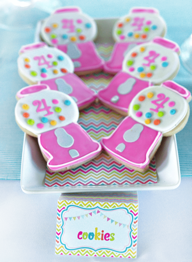Pink Gumball Machine Cookies for Sweet Shoppe Party
