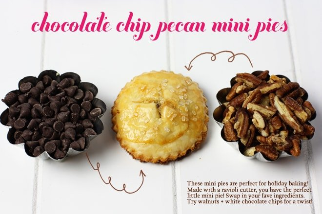 How to make mini chocolate chip pecan pies with a ravioli cutter!
