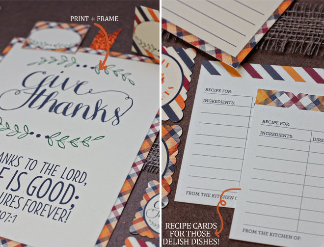 thanksgiving printable party set by pizzazzerie