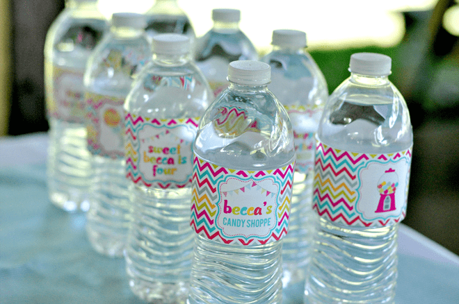 Sweet Shoppe Party Water Bottle Labels