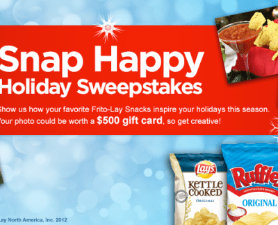Frito Lay SNAP Happy Holiday Sweepstakes | You could win $500!