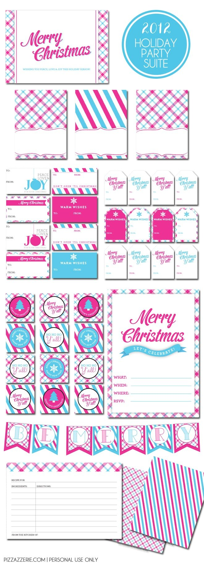 Free Holiday Printable Suite in Modern Pink & Aqua!
