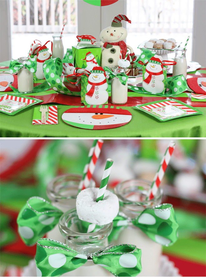 Snowmen & Donuts Christmas Breakfast Table + Party Tips! #holidayentertaining