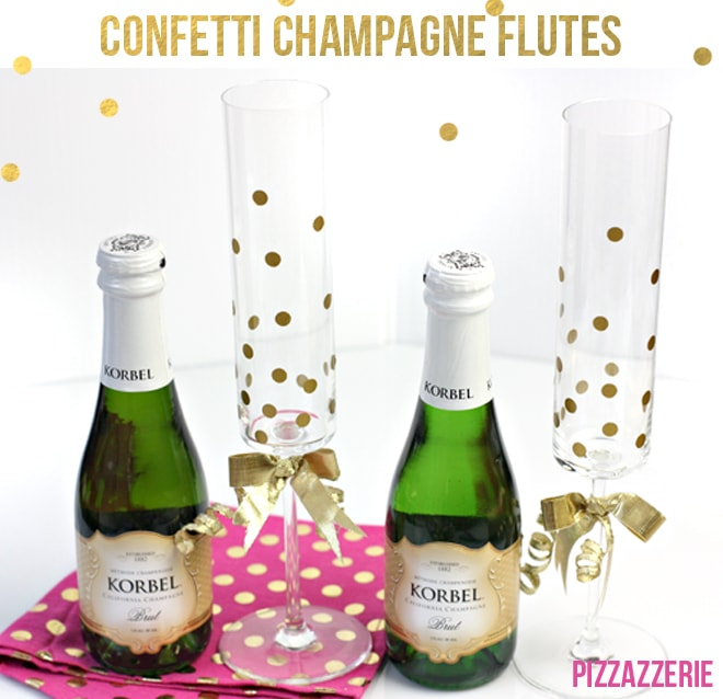 {DIY} How to Make Gold Confetti Champagne Glasses!