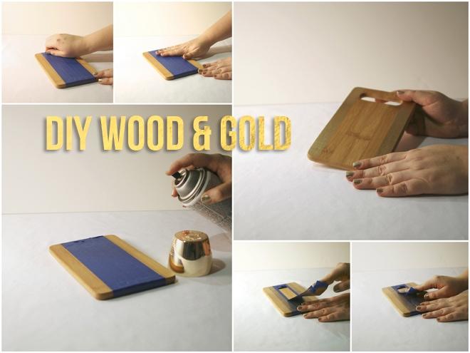 DIY Wood & Gold Tray Platter!