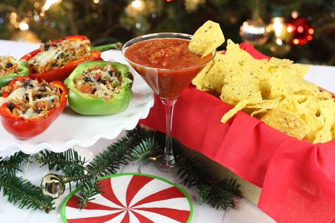 Stuffed Peppers featuring Tostitos Cantina Thin & Crispy tortilla chips and Tostitos Cantina Chipotle Restaurant Style Salsa #FritoLayHoliday
