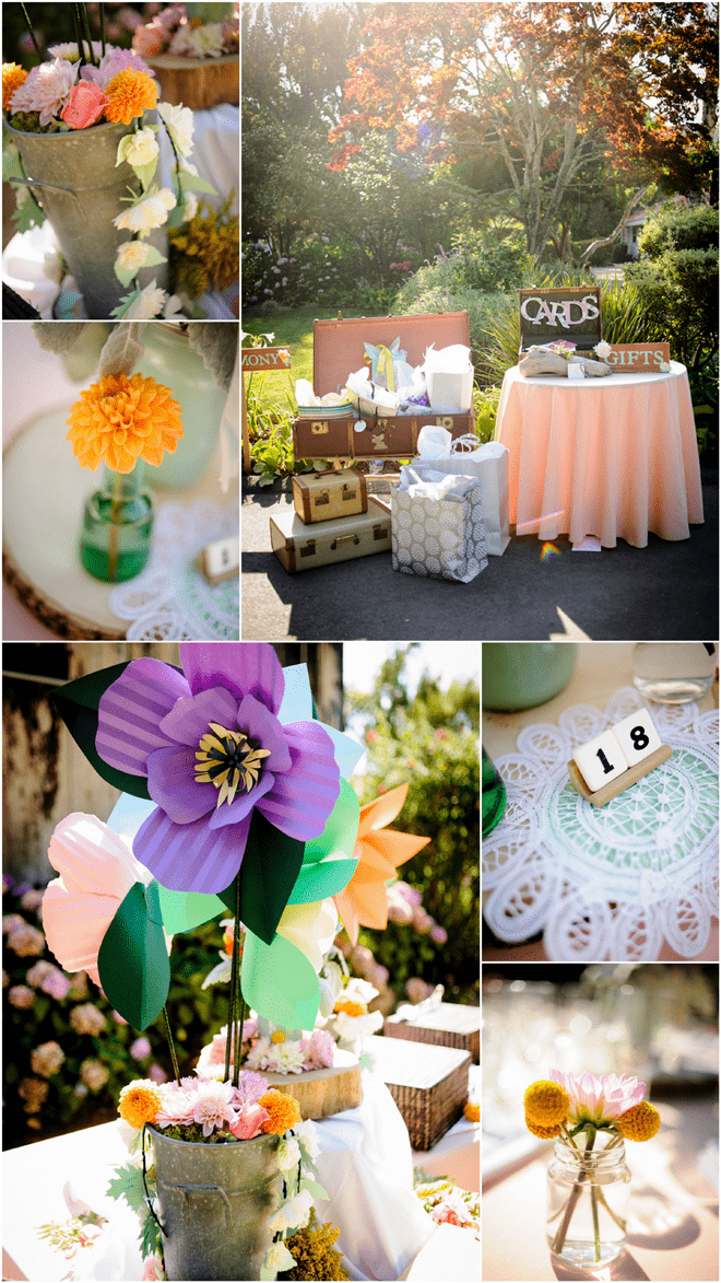 Mix of real and crepe paper flowers at wedding!