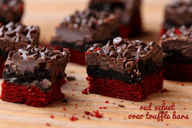 Red Velvet Oreo Truffle Brownie Bars |  Easy & Delish!