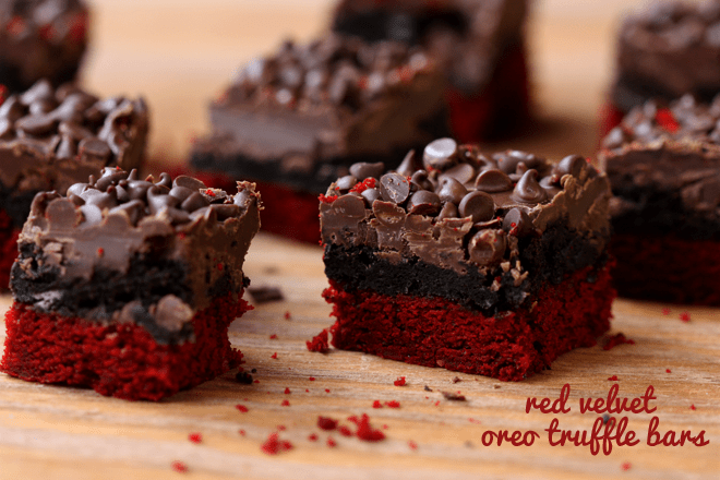 Red Velvet Oreo Truffle Brownie Bars