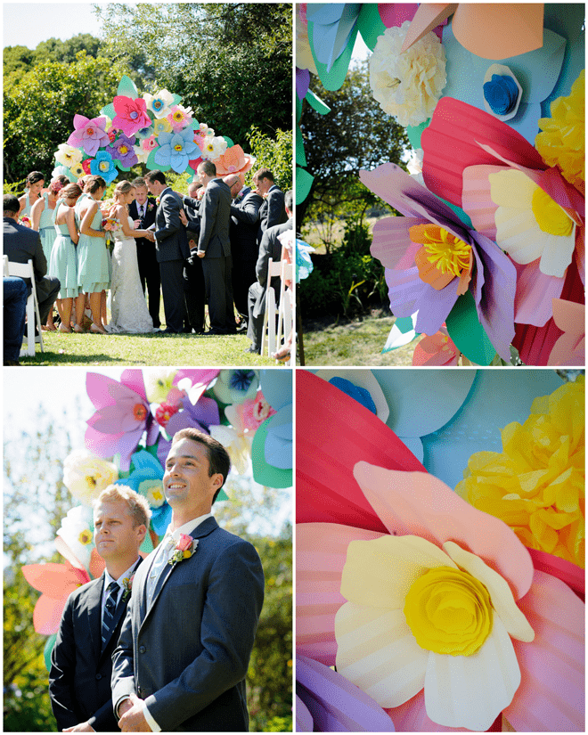 Crepe Paper Flower Alter for Colorful DIY Wedding!