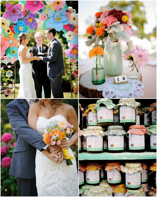 Colorful DIY Wedding Details! LOVE the Paper Flowers!