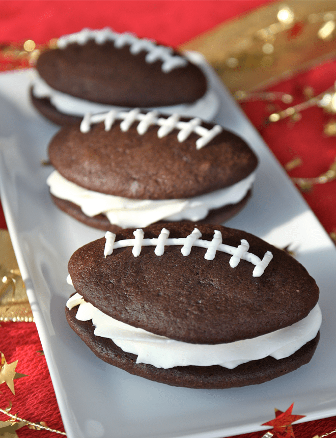 GAME TIME!  Football Shaped Whoopie Pies!