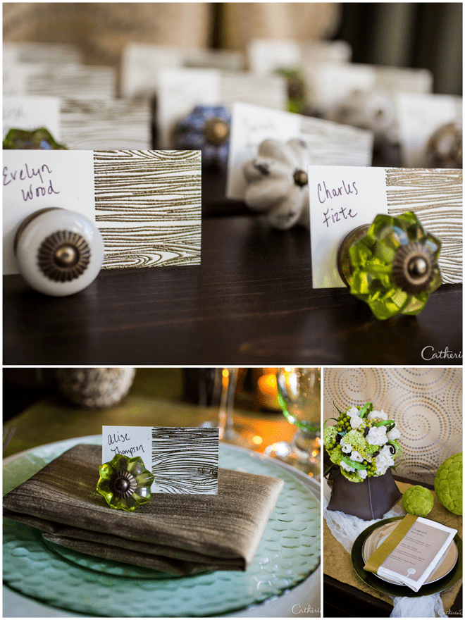 Nature Inspired Green Wedding Escort Cards & Tablescape