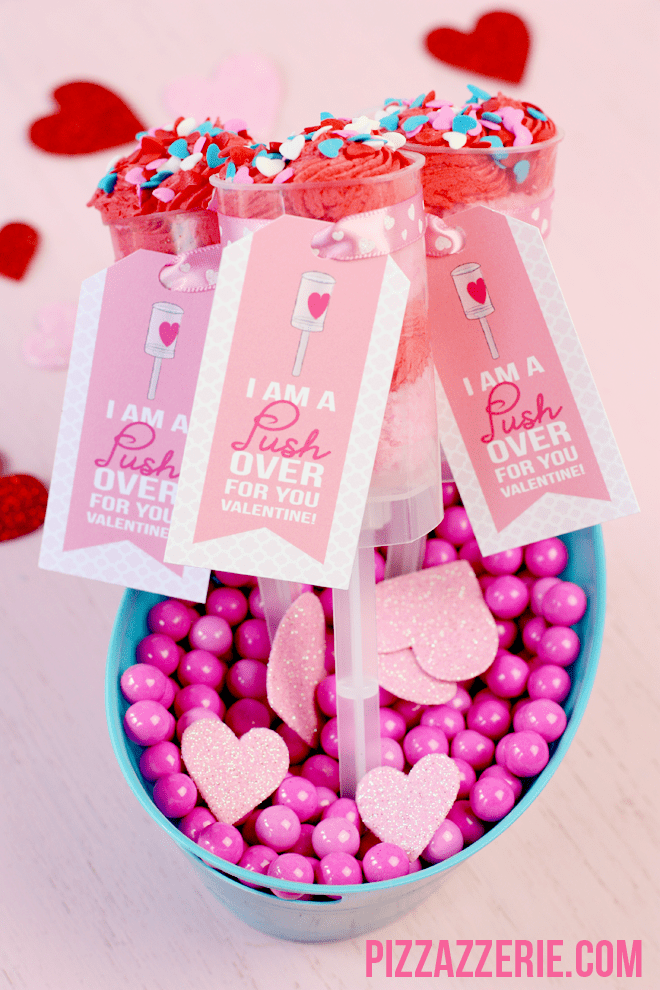 Cute Valentine's Day Push-Up Pops with Freebie Tag!