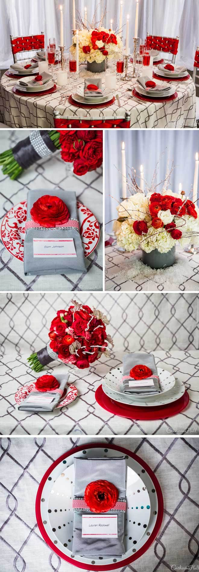 Red and White Wintry Styled Tablescape
