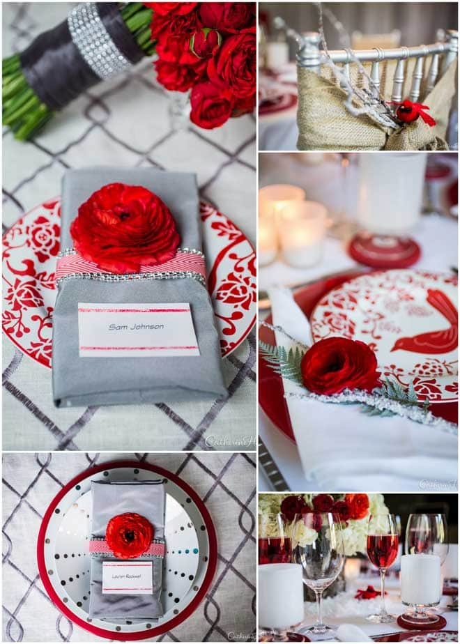 Wintry White and Red Styled Tablescape!