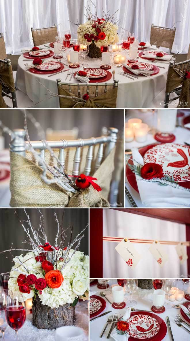 Wintry Woodland Red and White Tablesacape