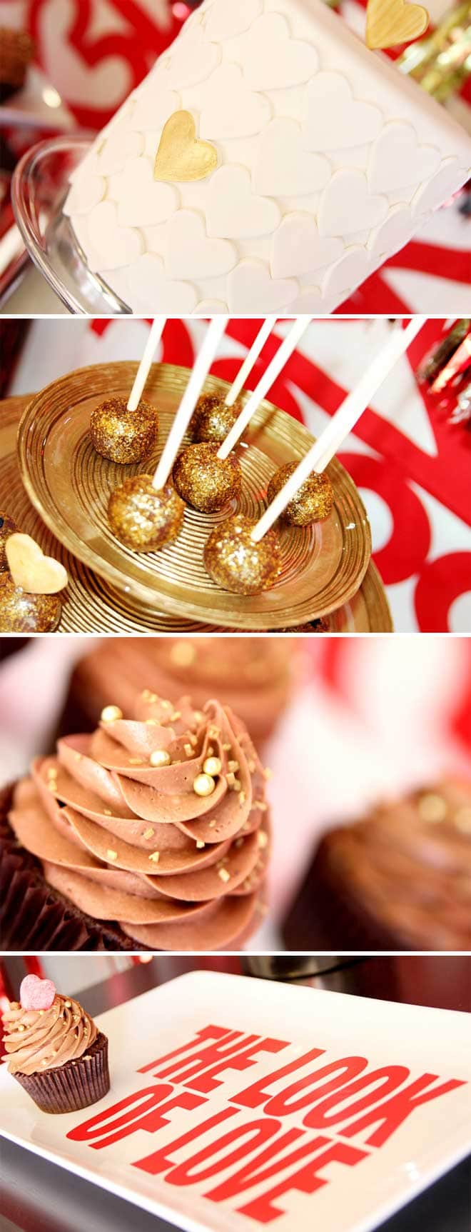 Gold and Red Valentine's Party Desserts!