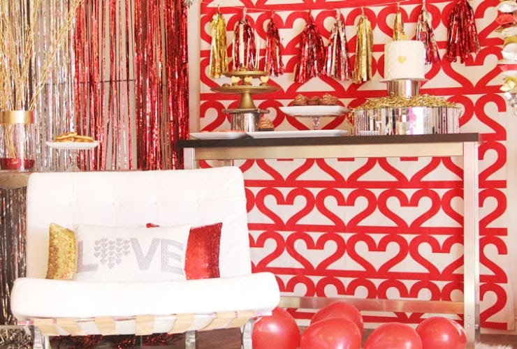 Glitzy Gold and Red Valentine's Dessert Party!