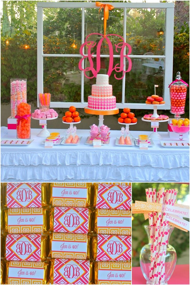 Pink and Orange Monogrammed Birthday Party!