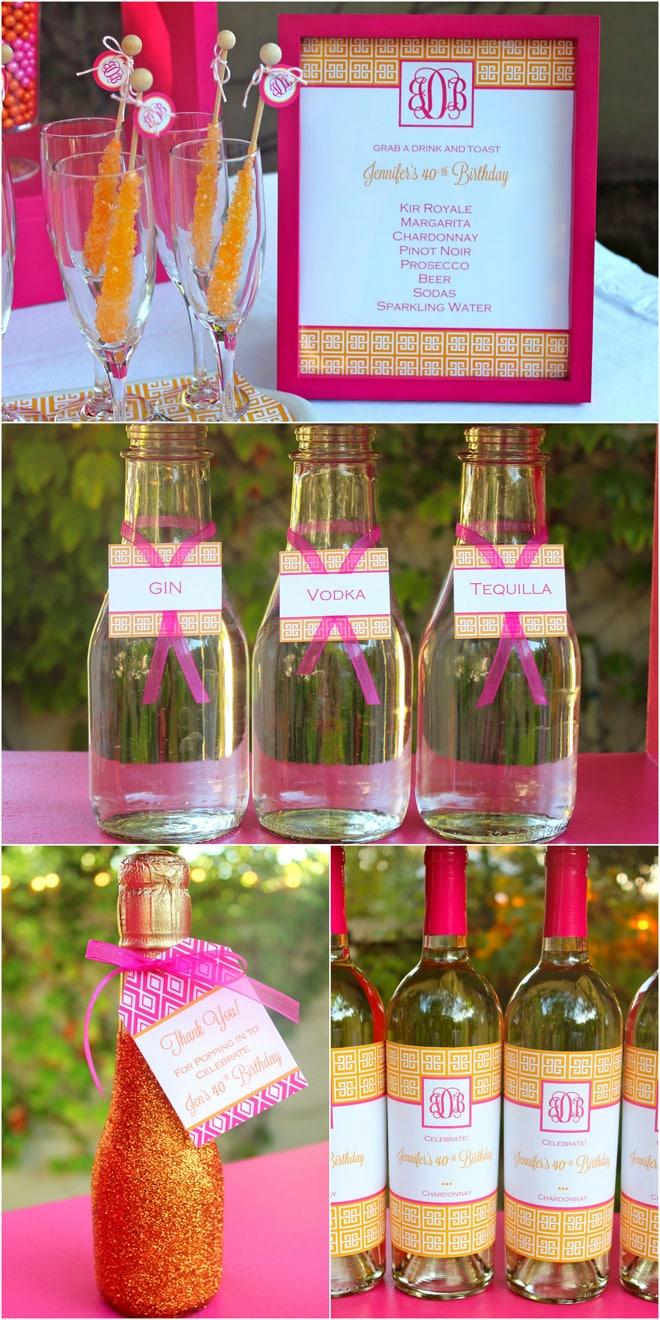 40th Birthday Drinks in Pink & Orange Monograms!