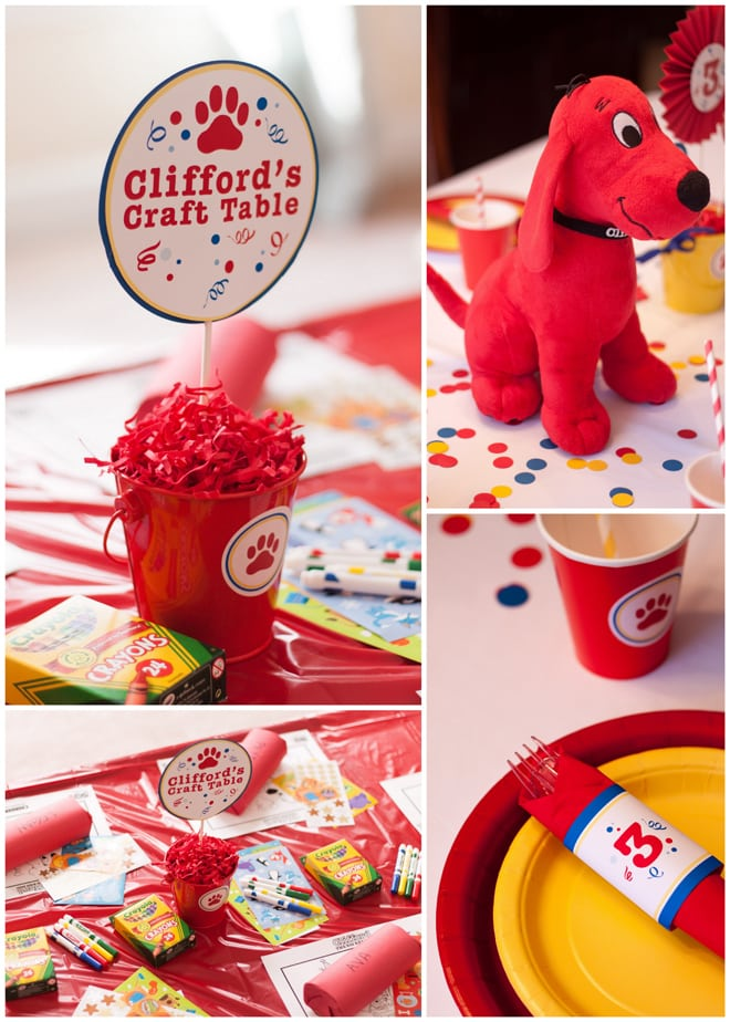 Clifford The Big Red Dog Craft Table at Party