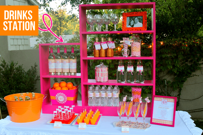 Set up a preppy pink and orange Drinks Station at your party!