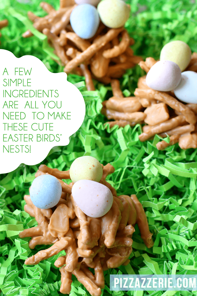 Cute EASTER BRIDS' NEST TREATS! Only a few simple ingredients.