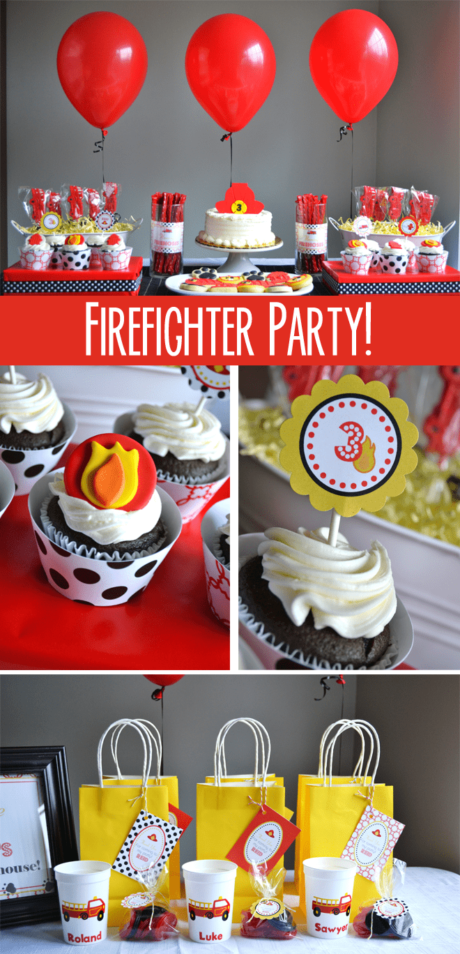 Cute birthday party with details + pics! Firefighter Party!