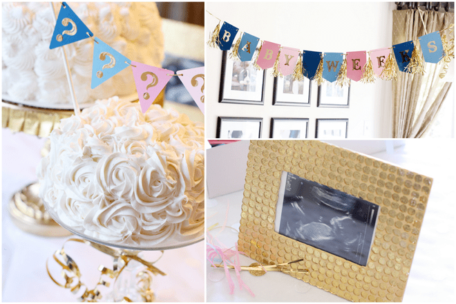 Pink, Blue, and Gold Baby Gender Reveal
