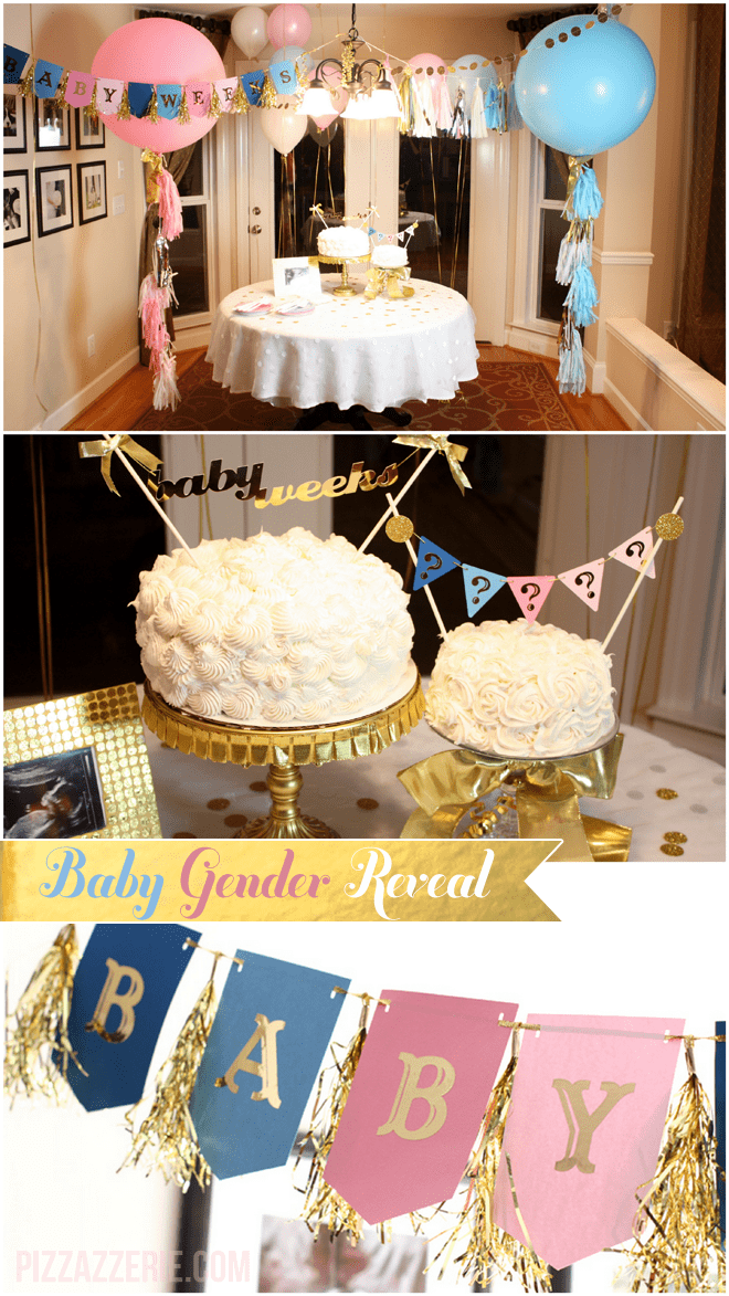 Pink, Blue, + Gold Gender Reveal Party Inspiration