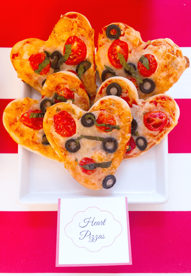 Make little heart-shaped pizzas for Valentine's Day!