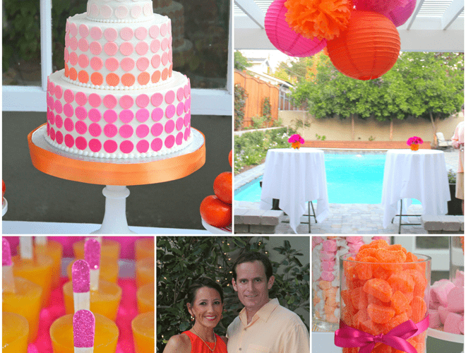 Pink & Orange Monogram 40th Birthday Party!