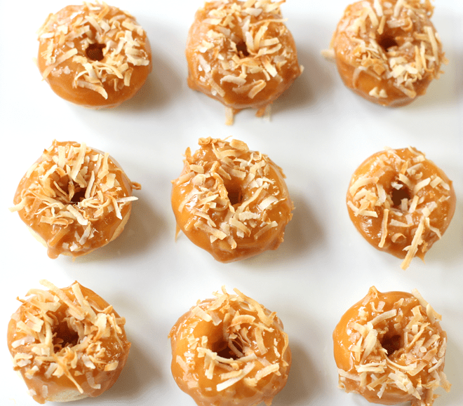 Baked Samoa Doughnuts! Ready for their chocolate drizzle bath!