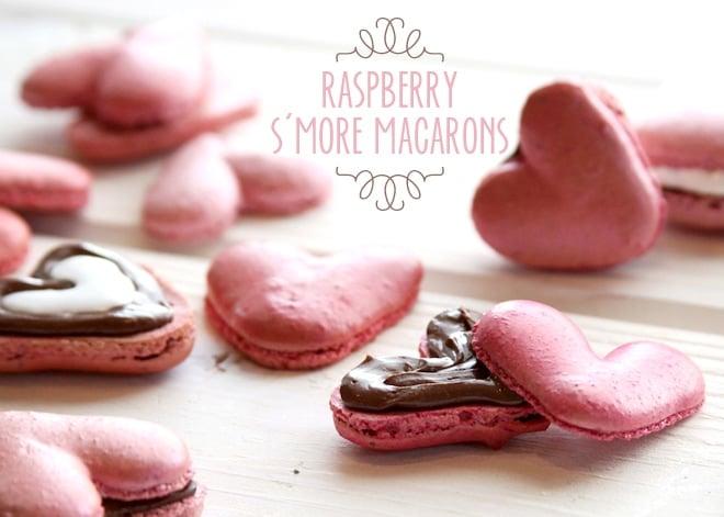 Heart-Shaped Raspberry S'more Macarons!