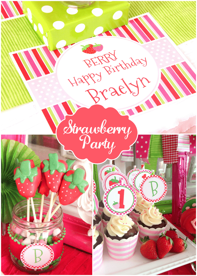 Adorable Strawberry Themed 1st Birthday Party!