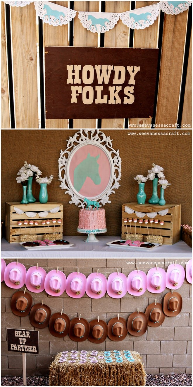 Awe Inspiring Pink And Aqua Cowgirl Themed Birthday Party Pizzazzerie Funny Birthday Cards Online Chimdamsfinfo
