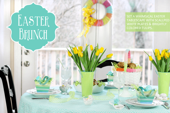 Aqua and Green Easter Sunday Brunch Tablescape