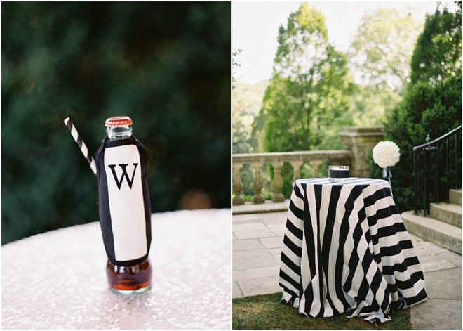 Mini Soda Bottles at Black and White Wedding