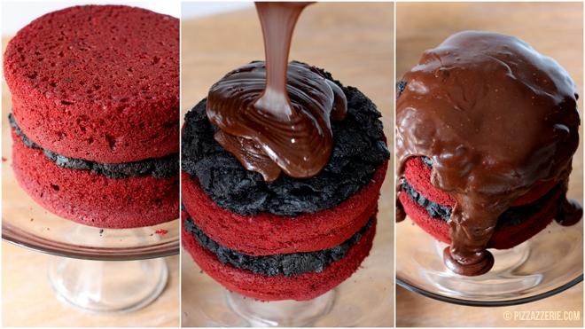 Making of Red Velvet Oreo Truffle Fudge Cake