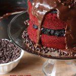 Red Velvet Oreo Truffle Fudge Cake by pizzazzerie.com