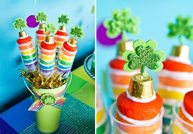 Rainbow St. Patrick's Day Push-Up Pops!!