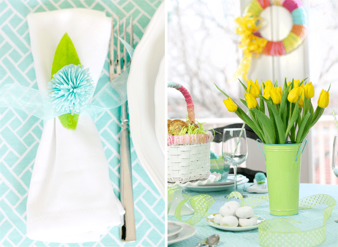 Bright Aqua + Green Easter Tablescape for Brunch