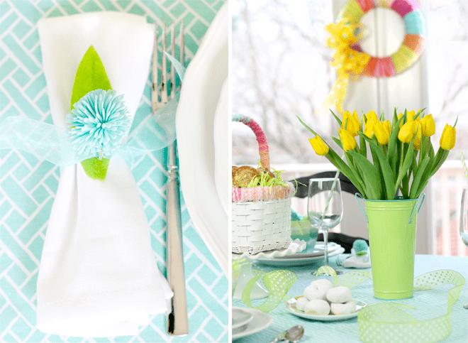 Bright Aqua + Green Easter Tablescape for Brunch