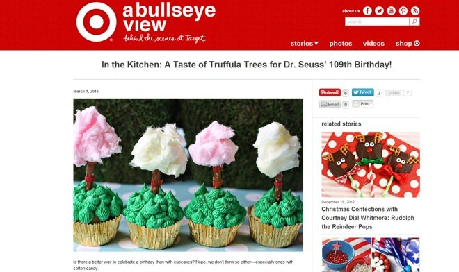Featured on TARGET! Dr. Seuss Truffula Tree Cupcakes!