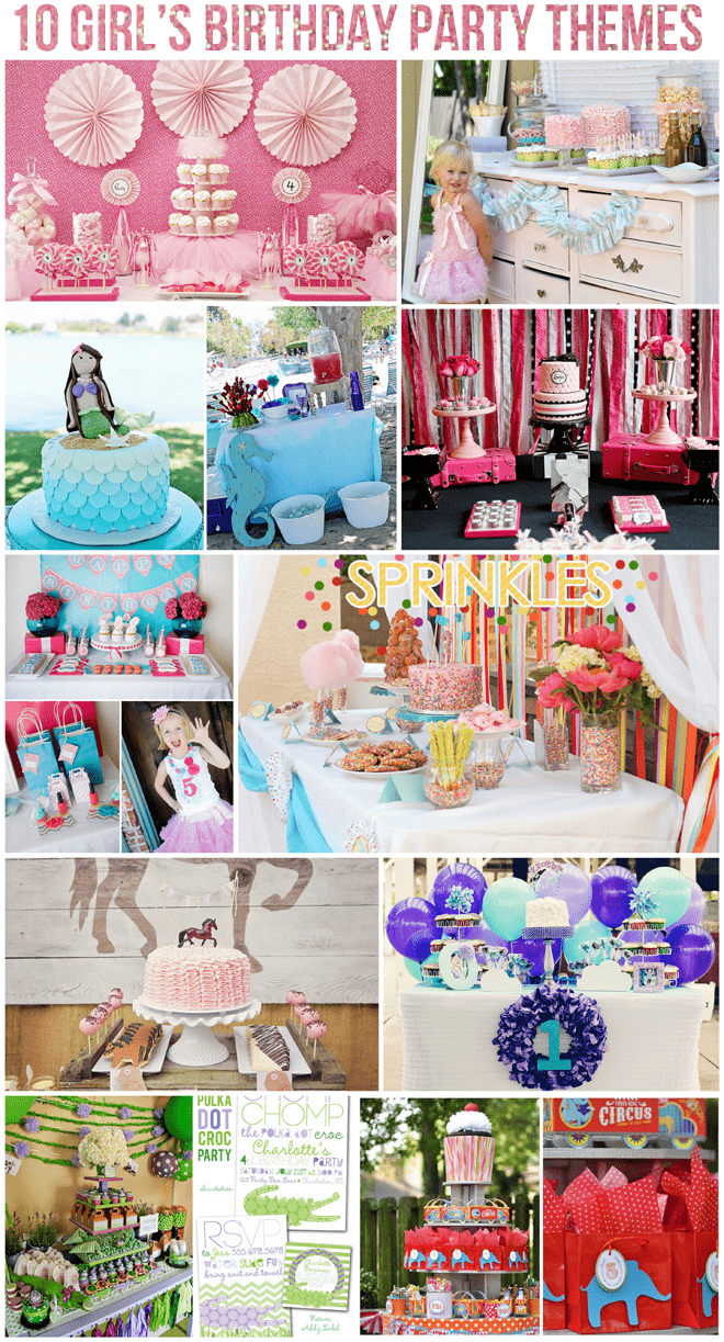 Top 10 Girl's Birthday Party Themes on pizzazzerie.com #party #birthday