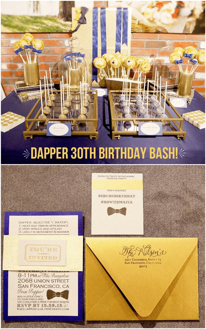 Dapper 30th Birthday Bash on pizzazzerie.com #guys #birthday #party
