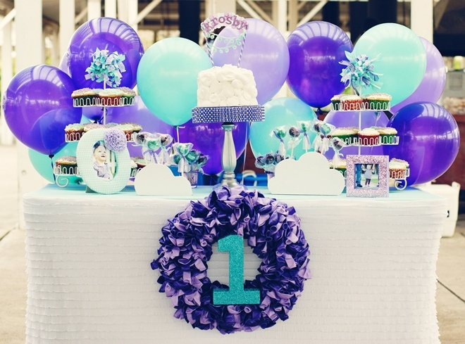 Purple Balloon Birthday Party on pizzazzerie.com #party #birthday